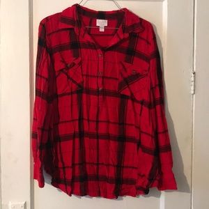 Isabel maternity red plaid shirt